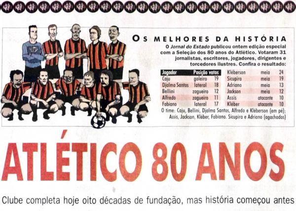 A seleção dos 80 anos do Athletico (ou Atlético), feita em 2004, pelo Bem Paraná (ou Jornal do Estado)
