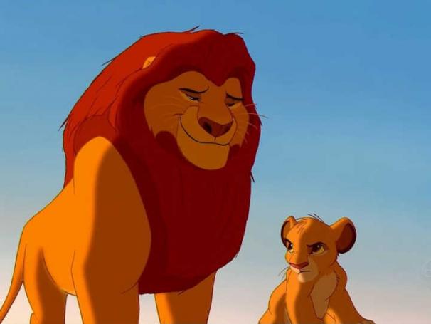 Mufasa e Simba, em O Rei Leão.