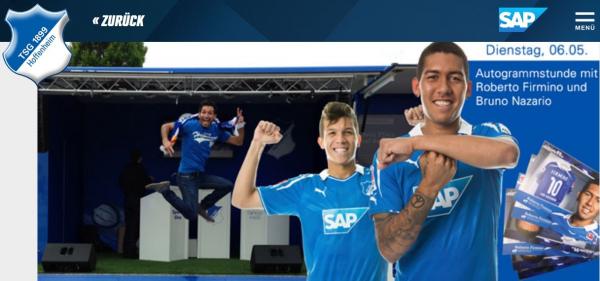 Site do Hoffenheim convoca torcida para sess\u00e3o de aut\u00f3grafos com Bruno Naz\u00e1rio e Roberto Firmimo