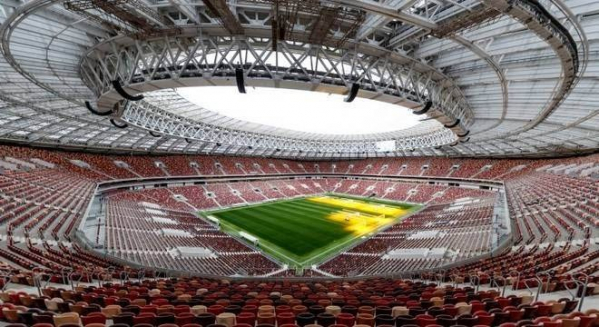 """""""O est\u00e1dio Luzhniki, em Moscou: palco da abertura da Copa, entre R\u00fassia e Ar\u00e1bia Saudita"""""""