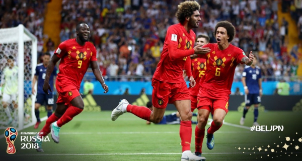 Fellaini comemora o gol da B\u00e9lgica