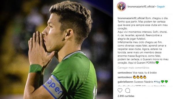 Bruno Naz\u00e1rio se despede do Guarani com texto no Instagram