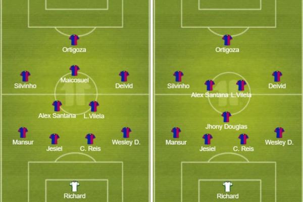 """""""O 4-2-3-1 (\u00e0 esquerda) e o 4-1-4-1 (\u00e0 direita): duas op\u00e7\u00f5es para Claudinei Oliveira escalar o Paran\u00e1 Clube"""""""