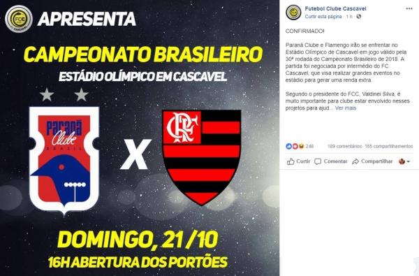 FC Cascavel comunica a realiza\u00e7\u00e3o da partida no Ol\u00edmpico Regional