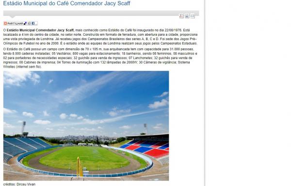 Site da Prefeitura de Londrina apresenta o Est\u00e1dio do Caf\u00e9