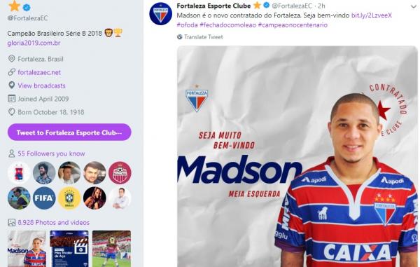 Fortaleza anuncia a contrata\u00e7\u00e3o de Madson