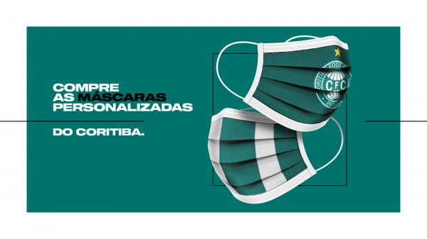 Máscara com escudo do Coritiba