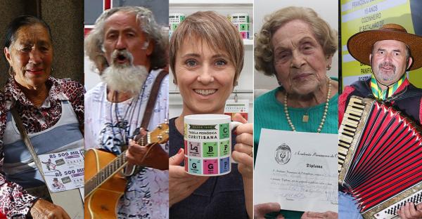 Dona Terezinha, Plá, Joseane Pesuschi, dona elvira e Jairo Cunha: personagens de Curitiba