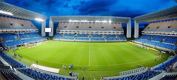 Imagem de arquivo da Arena Pantanal ainda com gramado bom