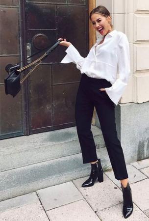 Dobradinha clássica e cheia de bossa: calça preta e camisa branca
