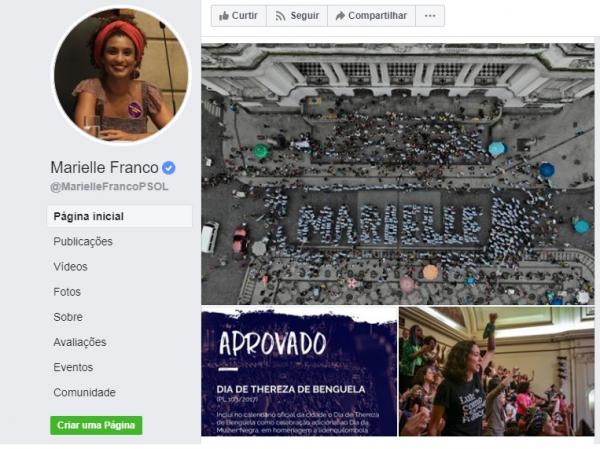 Página de Marielle Franco no Facebook