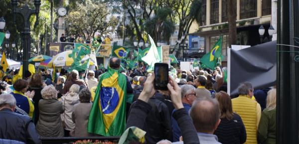 Manifestantes na Boca Madita: ato também defende pacote anticrime de Moro