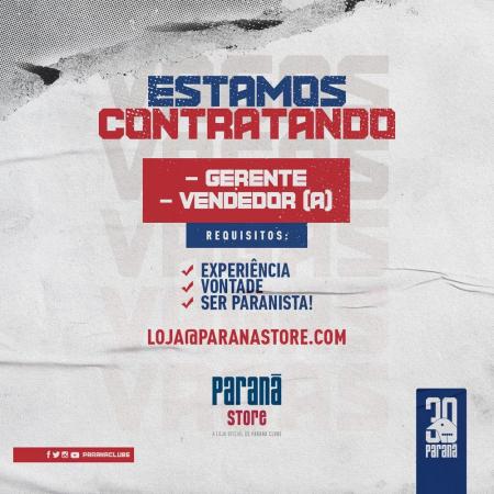 Paraná Clube procura vendedor e gerente