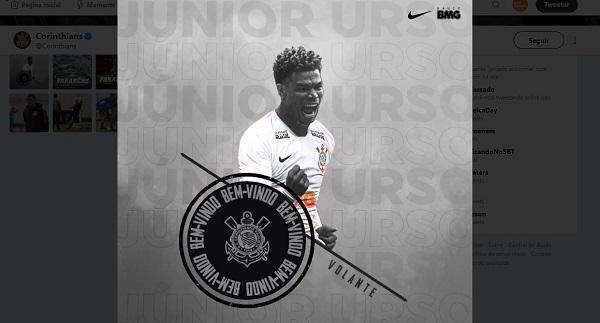 Junior Urso é apresentado pelo Twitter do Corinthians