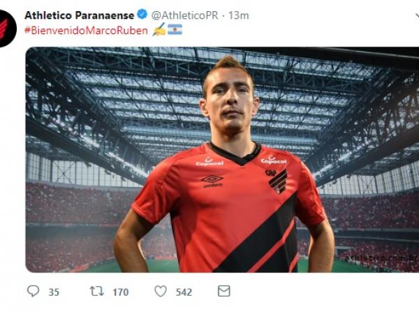 Marco Ruben é confirmado pelo Athletico, no twitter