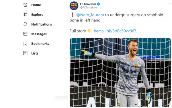 Twitter do Barcelona noticia a lesão de Neto