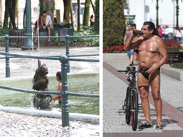 """Garotada """"fugindo"""" do calor e o Oil Man tomando uma água para se refrescar"""