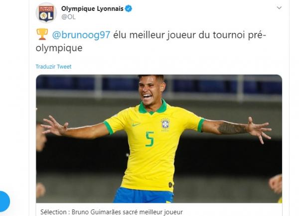 Twitter oficial do Lyon comemora o prêmio individual para Bruno Guimarães no Pré-Olímpico