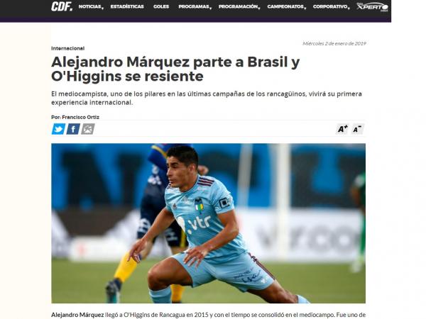 Site chileno fala sobre a contratação de Alejandro Márquez