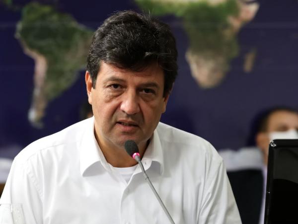 O ministro da Saúde, Luiz Henrique Mandetta, em videoconferência nesta quarta-feira