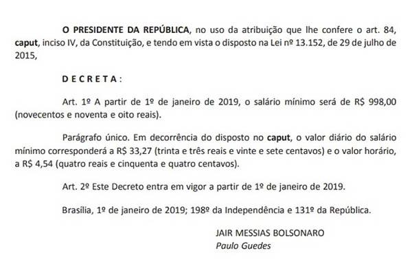 Decreto de Jair Bolsonaro sobre o salário mínimo
