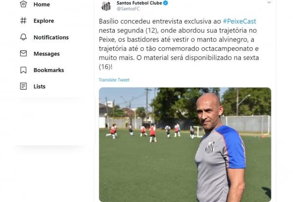 Twitter do Santos fala sobre a chegada de Basílio