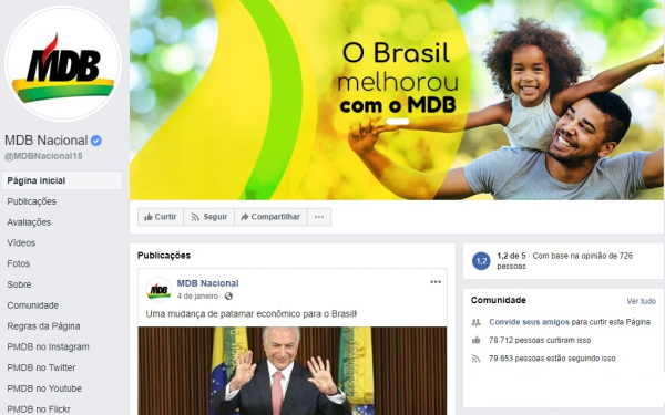 Página do MDB no Facebook