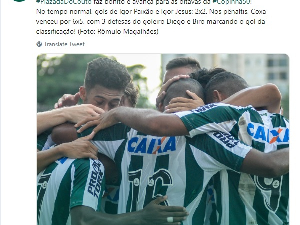 Twitter do Coritiba: comemoração