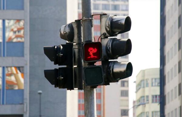 Semáforos com imagem diferente na Semana do Trânsito