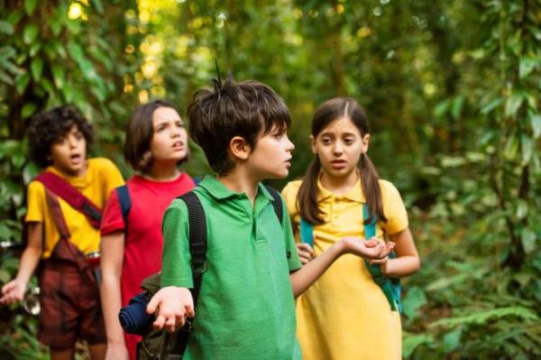 Cascão (Gabriel Moreira), a Mônica (Giulia Benite), Cebolinha (Kevin Vechiatto) e Magali (Laura Rauseo): amigos no filme e na vida real durante as filmagens