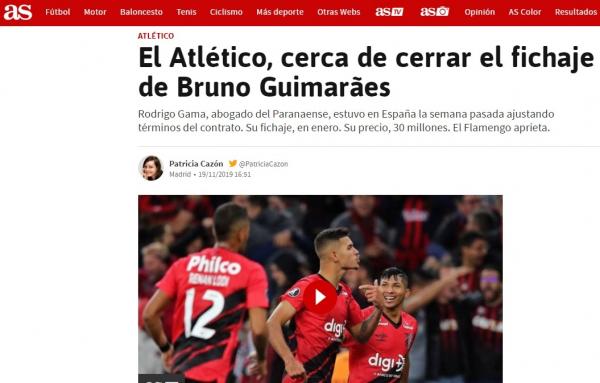 O Diário As da Espanha divulga a negociação por Bruno Guimarães