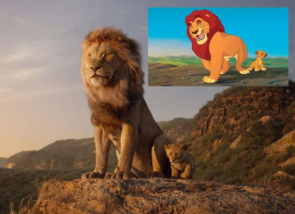 """Mufasa, o rei  da savana, e seu filho Simba, ainda """"criança"""", no live-action 'O Rei Leão', que estreia nesta quinta-feira em Curitiba: no detalhe, a cena similar na animação de 1994"""