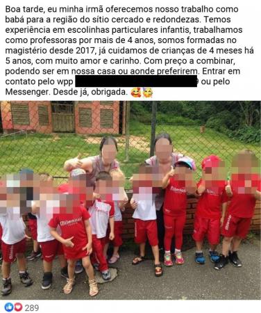 """Publicação de """"crecheiras"""" anexada à denúncia  investigada pelo MPPR"""