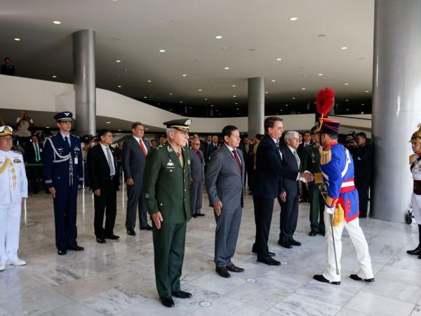 O presidente Jairo Bolsonaro, durante cerimônia da troca da Guarda Presidencial