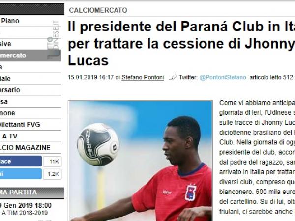Site italiano fala sobre o interesse da Udinese no jogador do Paraná