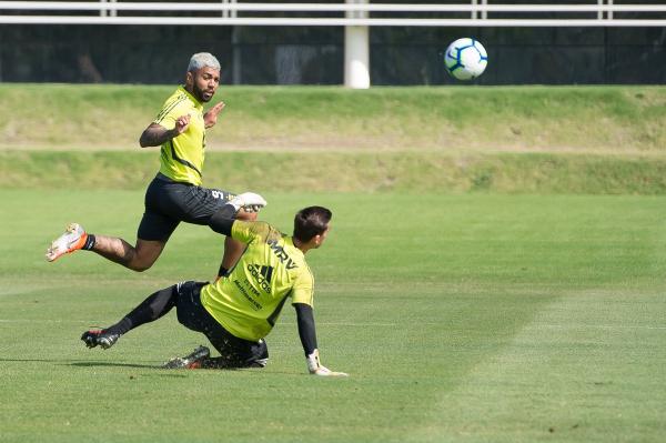 Gabigol, em treino do Flamengo