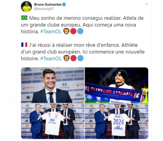 Bruno Guimarães escreve no Twitter sobre chegada ao Lyon