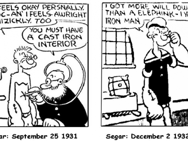 Um dos primeiros desenhos de Popeye
