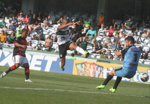 William Matheus chuta para marcar o gol do Coritiba