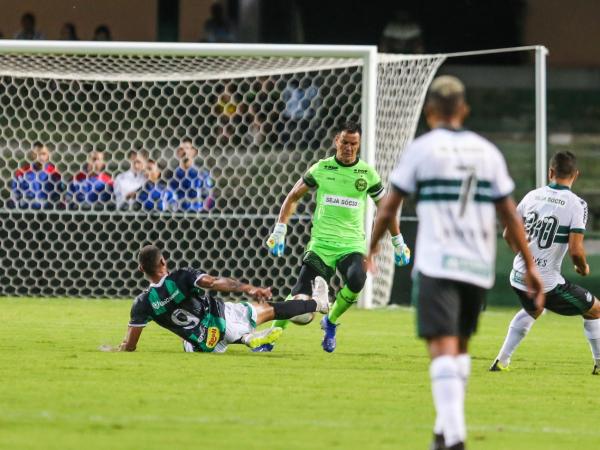 O goleiro Wilson, do Coritiba, perde a bola para o atacante Tiago Orobó