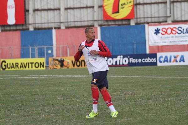 O lateral Danilo Baia, em treino do Paraná Clube, em 2015