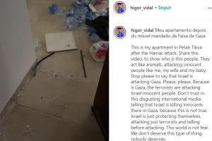 Jogador revelado pelo Paraná Clube tem apartamento destruído por míssil