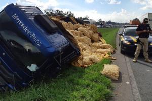 Caminhão tomba no Contorno Leste de Curitiba e espalha carga de batatas